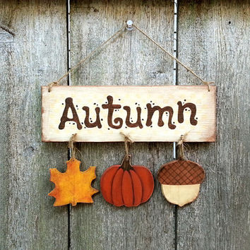 autumn sign decoration halloween wood plaque fall by kithkincrafts