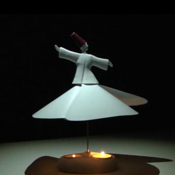 Sufi Whirling Dervish (turning by candle flame) Handmade