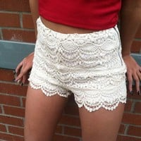 High Waisted Crochet Shorts (Ivory) from Affaire d'Amour
