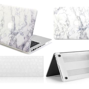 "New White Marble Rubberized Hard Shell Case Keyboard Skin Cover For Macbook Pro 13""15""Retina Air 11""12""13""inch Pouch"