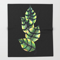 Viper Leaves Throw Blanket by ES Creative Designs