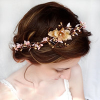 pink flower hair circlet, gold flower hair accessory, wedding flower headpiece, flower hair wreath - SERAPHIM - wedding hair accessories
