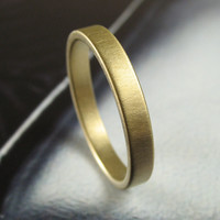 Brushed 3MM Gold Low Profile Wedding Band