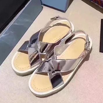 Prada Women Casual Flats Shoes Sandals Shoes