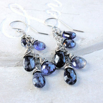Cluster Earrings Blue Kyanite Purple Iolite Oxidized Silver Long Dangle Earrings Gemstone Jewelry Bohemian Jewelry Wire Wrap Multi Gemstone