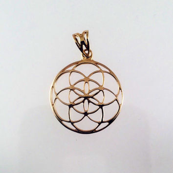 Sacred Geometry, 18k Gold Seed of Life Pendant