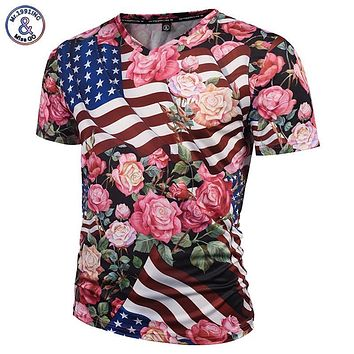 Mr.1991INC Fashion Brand Tshirt Men/Women 3d T-shirts V-neck Print USA Flag Skulls Roses Flowers Graphic T shirt Summer Tees