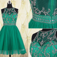 Vintage green short homecoming dress with beaded top,tulle short prom dress,beaded homecoming dress,graduation dress,party dress DP200