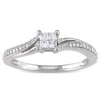 1/5 CT. T.W. Princess-Cut Quad Diamond Promise Ring in 10K White Gold - View All Jewelry - Gordon's Jewelers