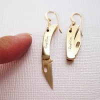 REAL Working Sharp Tiny Folding Knife Earrings - GOLDEN