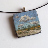 Miniature Hand Painted Landscape Pendant by liveclay on Etsy