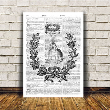 Rabbit poster Dictionary print Animal art Modern decor RTA271