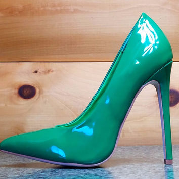 "Alba Ricky Green Patent Pointy Toe Pump Shoe 4.5"" Stiletto High Heels 6- 11"