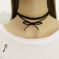Chain Suede Wrap Choker, Wrap Necklace, Suede Choker, Gold Chain and Black Suede Necklace, Boho Style Necklace, Trendy Necklace / N312