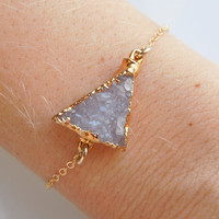 Druzy Bracelet in Crystal White, Triangle Shape Bracelet