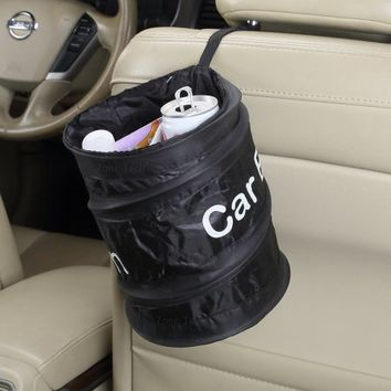 Zone Tech Black Vehicle Pop up Leakproof Trash Can Collapsible Universal Fit Car Hanging Garbage Bin - Walmart.com