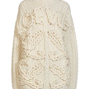 White High Neck Cable Chunky Knit Sweater