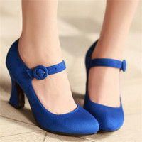 Size 34-39 Concise Women's Pumps Spring Round Toe Mary Jane Casual Thick High Heels Ladies Solid Plain Rose Shoes