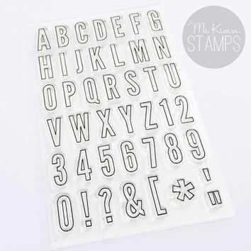 """Ms. Kimm Creates TALL & THIN OUTLINE 4""""x6"""" Photopolymer Clear Alphabet Stamp Set - Limited Release"""