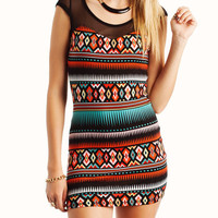 tribal-cap-sleeve-mesh-dress BLACKORG - GoJane.com