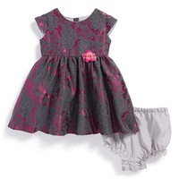 Infant Girl's Us Angels Floral Brocade Dress & Bloomers,