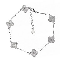 Van Cleef & Arpels Fashion New More Four-Leaf Clover Diamond Women Bracelet Jewelry Silver