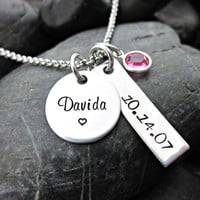 Personalized Necklace - Name - Date - Birthstone