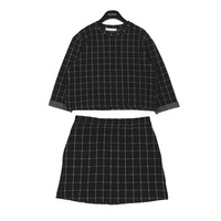 Square Patterned Jacquard Top and Skirt