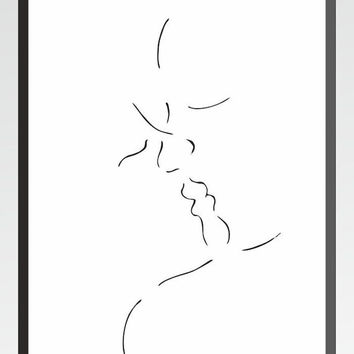 Modern minimalist line art print. Lovers kissing ink drawing. Black and white home decor.