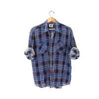 CIJ 25% OFF SALE Vintage plaid flannel / Dickies cotton button up shirt / grunge shirt / tomboy shirt