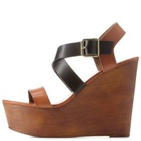 Black Bamboo Crisscross Color Block Wedges