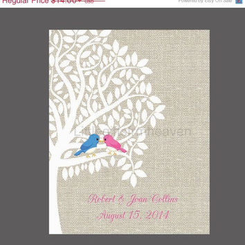 SALE Personalized Wedding Tree Linen Print- wedding tree print, personalized wedding, canvas anniversary, love birds tree art, silhouette tr