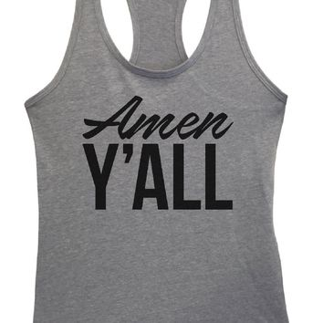 Womens Amen Y'All Grapahic Design Fitted Tank Top