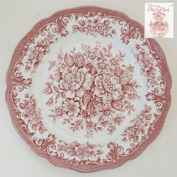 Vintage Country French Red Toile Pink Transferware Salad Plate Cabbage Roses Daisies