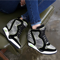 2015 New Women Wedge Sneakers Women's Height Increasing 6cm Wedges High Heel Shoes Serpentine Rivet high-top sneakers
