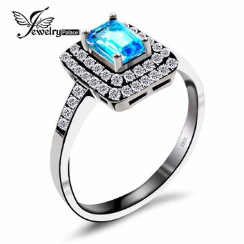 Genuine Blue Topaz Ring Sterling Silver