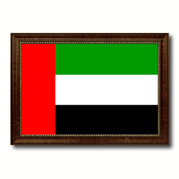 United Arab Emirates Country Flag Canvas Print with Brown Picture Frame Home Decor Gifts Wall Art Decoration Gift Ideas