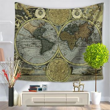 150*130cm & 150*200cm polyester printed world map wall tapestry wall hangings for living room bedroom decorating home textile