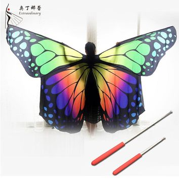 Belly Dancing Prop Adult Colorful Butterfly Isis Wings for Belly Dance with Sticks