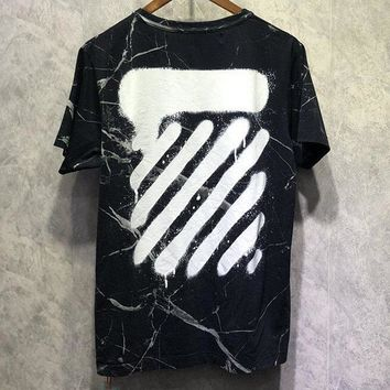 OFF-WHITE Tide brand marble crack printing men and women round neck half sleeve shirt Black