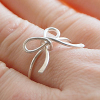 Forget me not ring Ribbon Sterling silver by Karismabykarajewelry