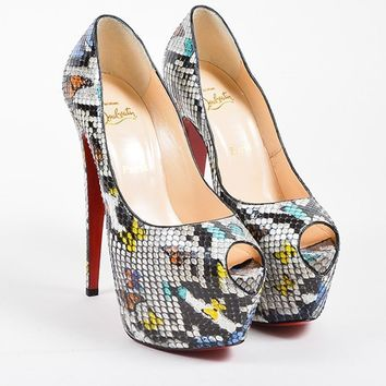 PEAPU2C Multicolor Christian Louboutin Python Leather Highness 160 Pumps