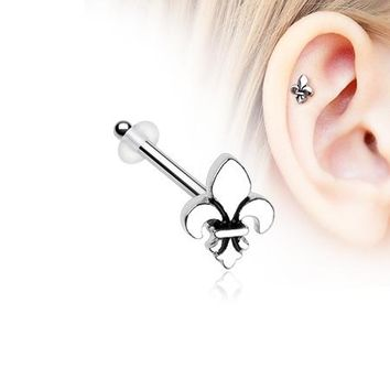 Classic Fleur De Lis Piercing Stud with O-Rings