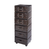 Wood and Leather 6 Drawer Cabinet