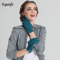 Top-grade Women Brand Pig Suede Gloves With Snap Button Fashionable Contrast Color Short Wrist Glove Keep Warm Mittens For Women