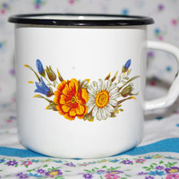 Enamel Cup Cute Soviet Vintage Enamel Camping Tea Cup / Farmhouse Chipped cup / White tin cup with flower design, metal mug, Emalware USSR