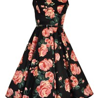 Black & Pink Rose Floral Hepburn Dress