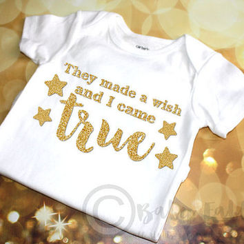 They made a wish and I came true, gold glitter baby shirt, baby girl, glitter shirt, Gold Glitter, Trendy Hipster, Newborn baby girl