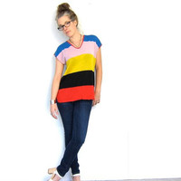 Slouchy Knit Tunic Top 70s Colorblock Sweater Shirt Retro Striped Thin Tshirt 1970s Indie Louanne's Vintage Tee Hipster Small Medium Large