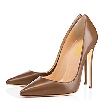 FSJ Women Glossy Fresh Colors Pointed Toe Heels Formal Dress Pumps Shoes Size 4-15 US